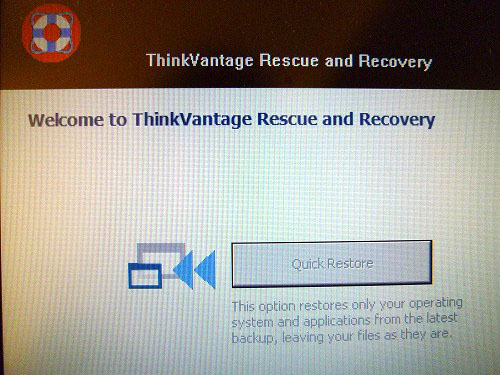 Rescue and Recoveryが起動
